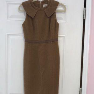 Milly brown tweed dress round collar